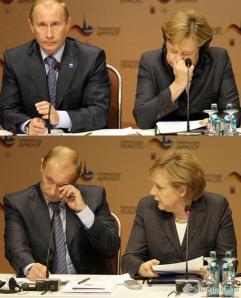 Тук Меркел кихнала, в резултат на което на Путин окото започнало да му щипе