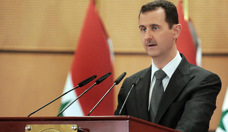 Syrian President Bashar al-Assad delivering a speech at Damascus University