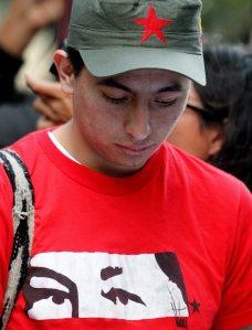 FOLLOWERS OF VENEZUELAN PRESIDENT HUGO CHAVEZ IN BOGOTA