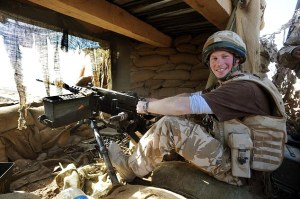 Prince Harry mans the 50mm machine gun on the observation post a