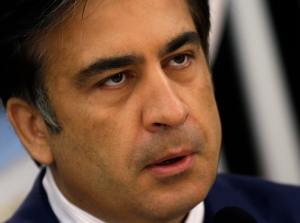 Georgia's President Saakashvili speaks during a news conference at his office in Tbilisi