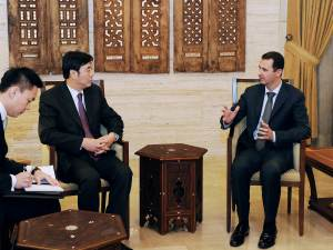 Syria's President Bashar al-Assad meets Chinese Vice Foreign Minister Zhai Jun,in Damascus