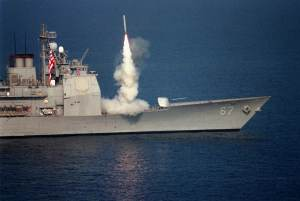 U.S. Navy War Ships Launch Cruise Missiles into Iraq