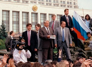 File photo of Boris Yeltsin outside parliament in Moscow