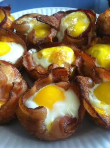 Scrumptious homemade breakfast cups with bacon, egg, toast, and cheese n