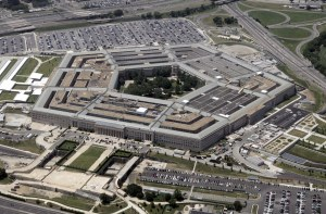 An aerial view of the Pentagon Building in Washington