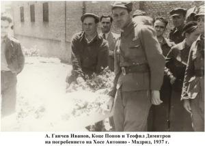 4e A Ivanov K Popov T Dimitrov na pogrebenie 1937