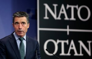 NATO Secretary General Rasmussen addresses a news conference during a NATO defence ministers meeting at the Alliance headquarters in Brussels