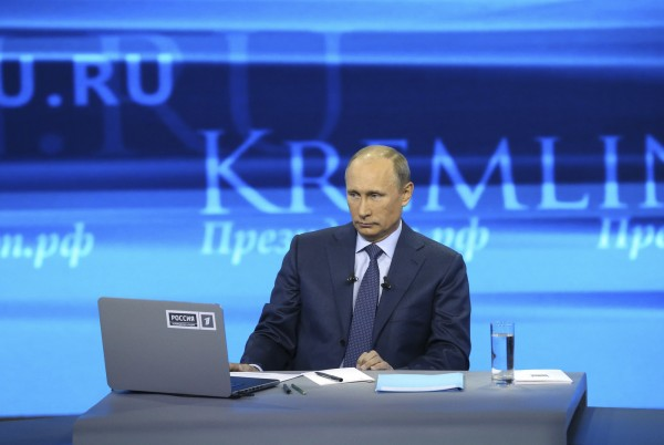 Russian President Putin takes part in a live broadcast nationwide phone-in in Moscow