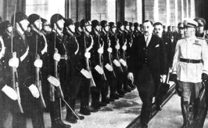 Богдан Филов с идеолога на италианския фашизъм Б. Мусолини, 1941 г.