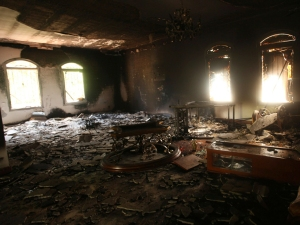 An interior view of the U.S. consulate, which was attacked and set on fire by gunmen yesterday, in Benghazi September 12, 2012. Christopher Stevens, the U.S. ambassador to Libya, and three embassy staff were killed as they rushed away from the consulate building, stormed by al Qaeda-linked gunmen blaming America for a film that they said insulted the Prophet Mohammad. Stevens was trying to leave the consulate building for a safer location as part of an evacuation when gunmen launched an intense attack, apparently forcing security personnel to withdraw. REUTERS/Esam Al-Fetori (LIBYA - Tags: POLITICS CIVIL UNREST)