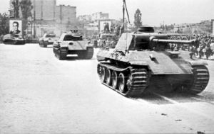 Трофейни танкове, дивизия Тудор Владимитреску, парад Букурещ, 1946 г.