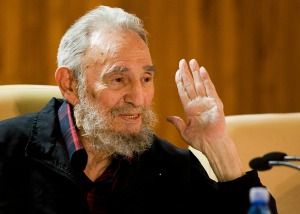 Former Cuban leader Fidel Castro attends a meeting with writers invited to the XXI International Havana Book Fair