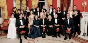 "WASHINGTON - JANUARY 6:  President George W. Bush, first lady Laura Bush, former first lady Barbara Bush and former President George H.W. Bush sit surrounded by family in the Red Room of the White House January 6, 2005 in Washington, DC. Friends and family joined former President Bush and Barbara Bush in celebrating their 60th wedding anniversary at a dinner. Also pictured are:  (L to R) Georgia Grace Koch, Margaret Bush, Walker Bush, Marvin Bush, Jenna Bush, Doro Koch, Barbara Bush, Robert P. Koch, Pierce M. Bush, Maria Bush, Neil Bush, Ashley Bush, Sam LeBlond, Robert Koch, Nancy Ellis LeBlond, John Ellis Bush, Jr., Florida Gov. John Ellis ""Jeb"" Bush, Mandi Bush, George P. Bush, and Columba Bush.  (Photo by Eric Draper/White House via Getty Images)"