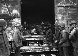 Зверства фашисти американци гледат мъртви тела Дахау orig