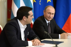 Yunanistan Basbakani Aleksis Cipras (solda), Rusya Devlet Baskani Vladimir Putin'le (sagda) gorusmesinde Turk Akim'i ile ilgili Rusya'nin onerilerini degerlendirdi.