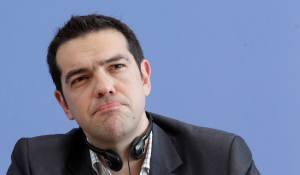 Head of Greece's radical left SYRIZA party Tsipras addresses news conference in Berlin