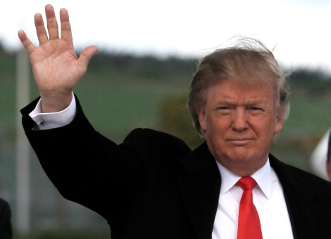 "U.S. businessman Donald Trump waves as he arrives at Aberdeen Airport in Scotland in this May 26, 2010 file photo. Billionaire real estate magnate Trump said on May 16, 2011 that he will not run for the White House in 2012. The host of NBC-TV's ""Celebrity Apprentice"" said the decision came after ""considerable deliberation and reflection"" after weeks of an unofficial campaign. Picture taken May 26, 2010. REUTERS/David Moir/Files (BRITAIN - Tags: BUSINESS POLITICS ELECTIONS ENTERTAINMENT)"