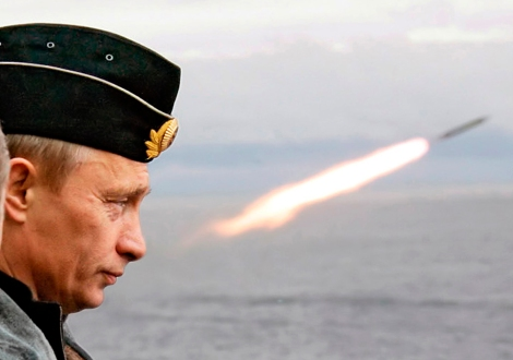 Russian President Vladimir Putin watches the launch of a missile during naval exercises in Russia's Arctic North on board the nuclear missile cruiser Pyotr Veliky (Peter the Great)
