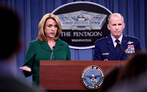 Secretary of the Air Force Deborah Lee James and Lt. Gen Stephen Wilson, commander of Global Strike Command, provide an update, Jan. 30, 2014, in the Pentagon, on the investigation of compromised test materials at Malmstrom Air Force Base, Mont.  During the press briefing, James and Wilson talked about the steps the Air Force and Global Strike Command are taking to address the integrity failure by some officers and measures to address systemic issues affecting the ICBM crew force.  (U.S. Air Force photo/Scott M. Ash)