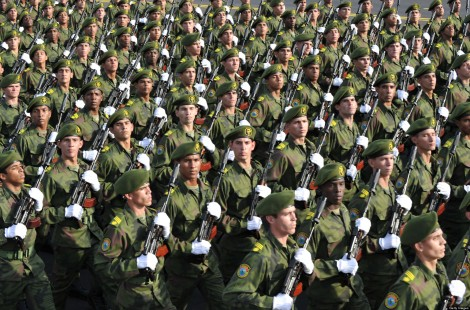 Cuban special forces march, on April 16,