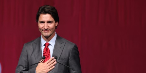 TORONTO, ON - JANUARY 21: TLiberal Leader Justin Trudeau speaks from the podium. Former Prime Minister Jean Chrétien is the focus of a tribute at the Westin Harbour Castle hotel in Toronto for A-list crowd.        (Richard Lautens/Toronto Star via Getty Images)
