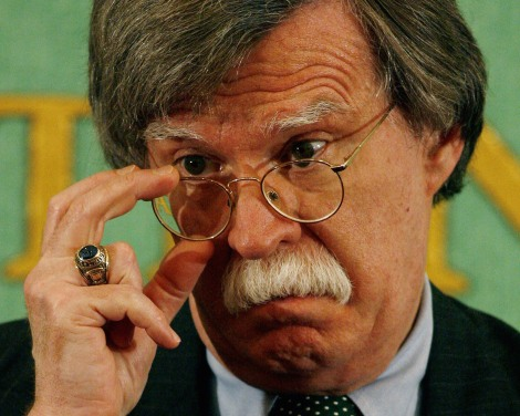 "** FILE ** In a file photo John Bolton, former U.S. Ambassador to the United Nations, takes a question from the media at the Japan press club in Tokyo Wednesday, Jan. 17, 2007.  Bolton said Tuesday March  20, 2007, ""I believe that ultimately the only real prospect of getting Iran to give up nuclear weapons is to change the regime."" (AP Photo/David Guttenfelder)"