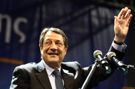 13.02.2013. Portrait of Nikos Anastasiadis during the last speech before the elections for Cypriot President in capital Nicosia on February 13, 2013
